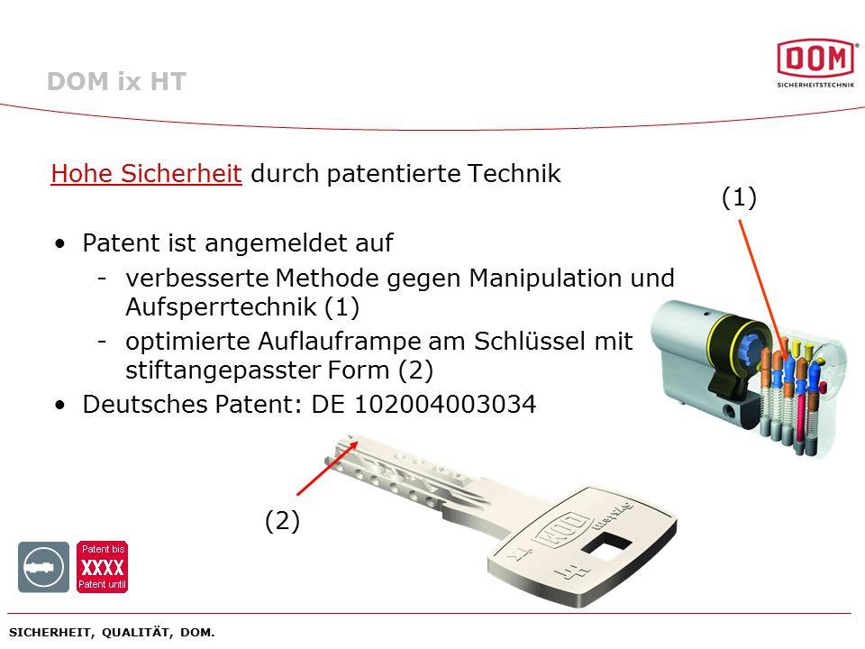 Hohe Sicherheit durch patentierte Technik Patent ist angemeldet auf
