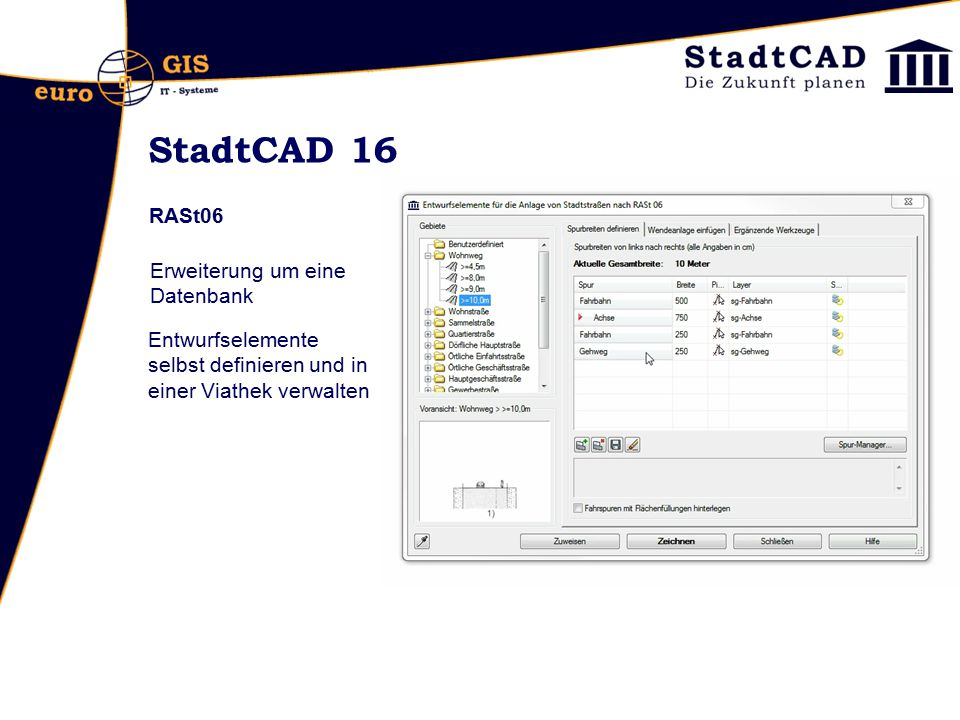 StadtCAD 16 RASt06 Erweiterung um eine Datenbank