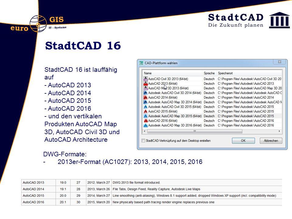 StadtCAD 16 StadtCAD 16 ist lauffähig auf AutoCAD 2013 AutoCAD 2014