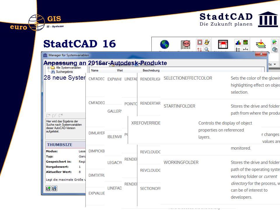 StadtCAD 16 Anpassung an 2016er-Autodesk-Produkte