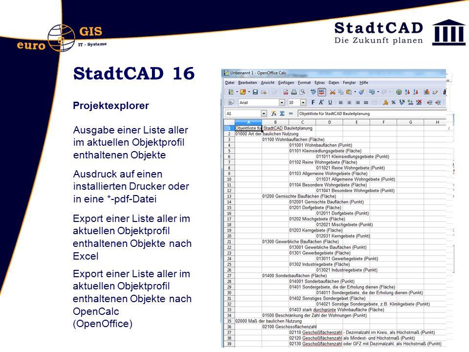StadtCAD 16 Projektexplorer