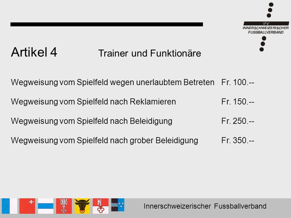 Artikel 4 Trainer und Funktionäre