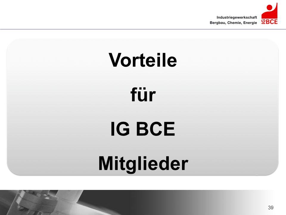 Vorteile für IG BCE Mitglieder