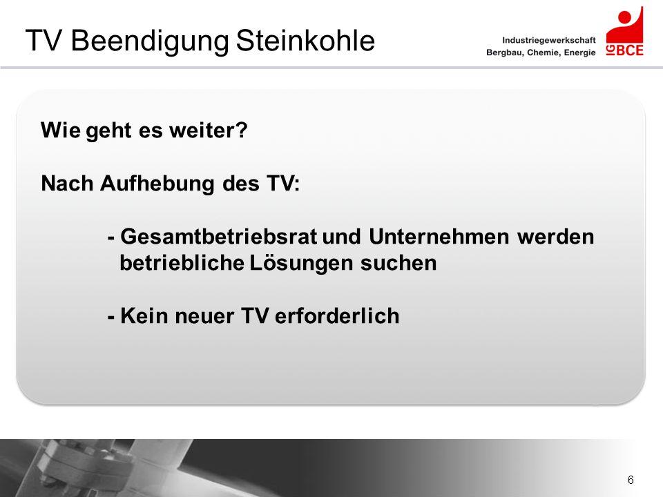 TV Beendigung Steinkohle