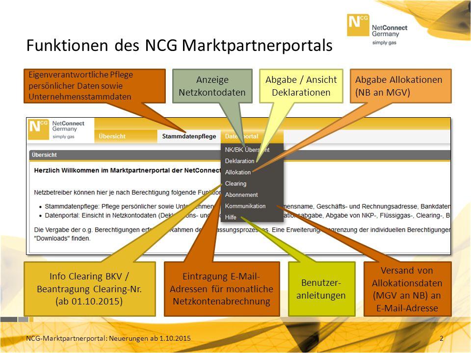 Funktionen des NCG Marktpartnerportals