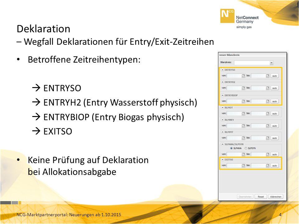 Deklaration – Wegfall Deklarationen für Entry/Exit-Zeitreihen