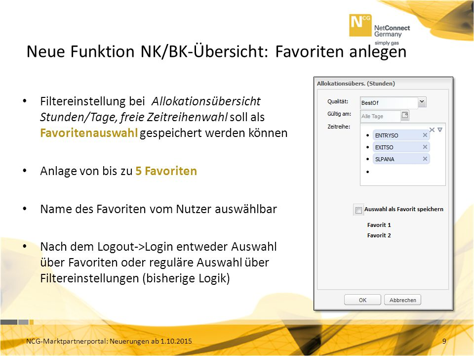 Neue Funktion NK/BK-Übersicht: Favoriten anlegen