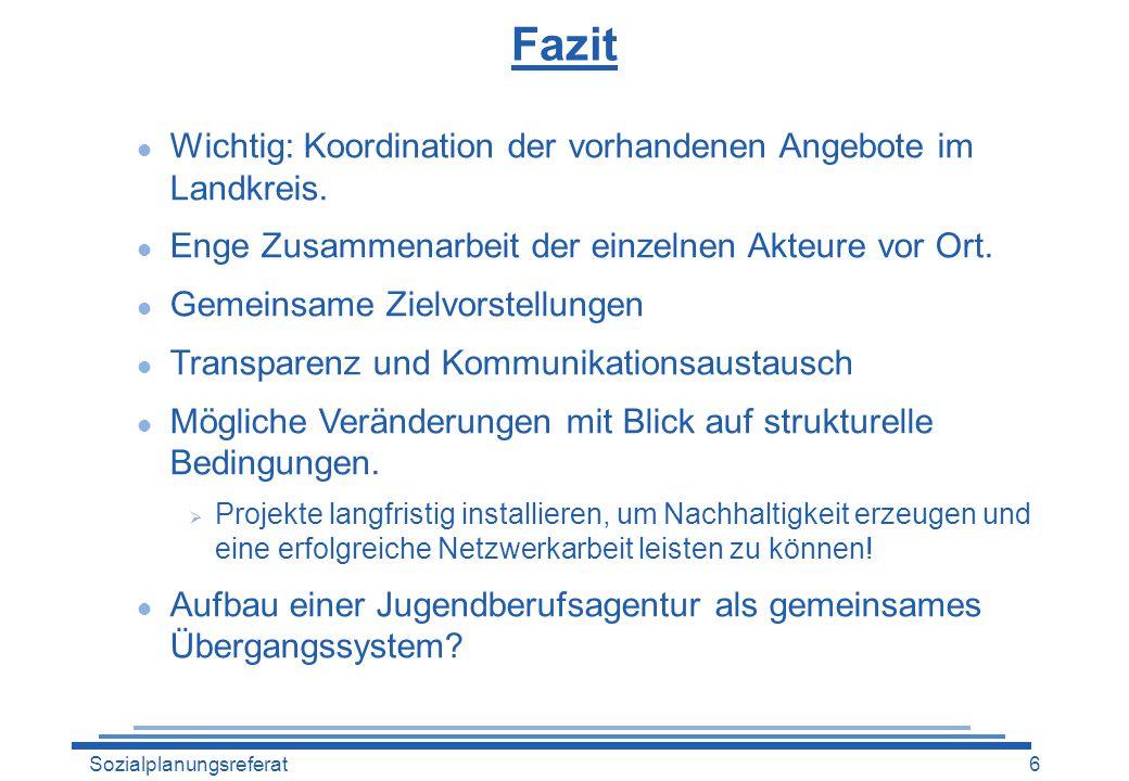 Fazit Wichtig: Koordination der vorhandenen Angebote im Landkreis.