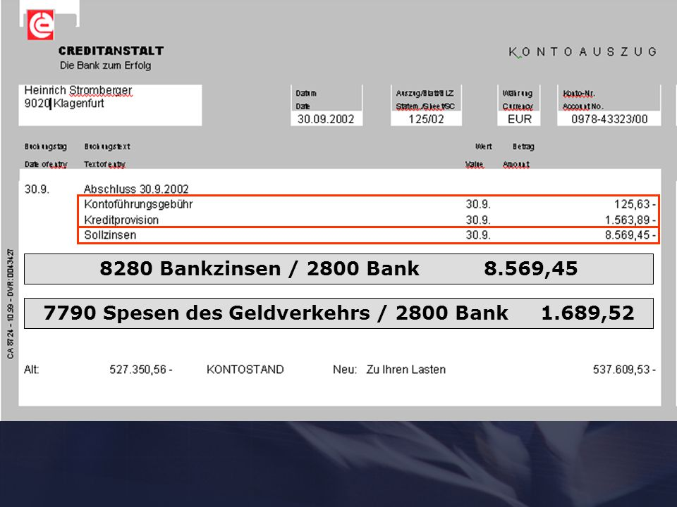 7790 Spesen des Geldverkehrs / 2800 Bank 1.689,52