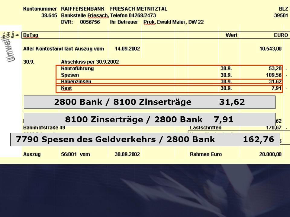 7790 Spesen des Geldverkehrs / 2800 Bank 162,76