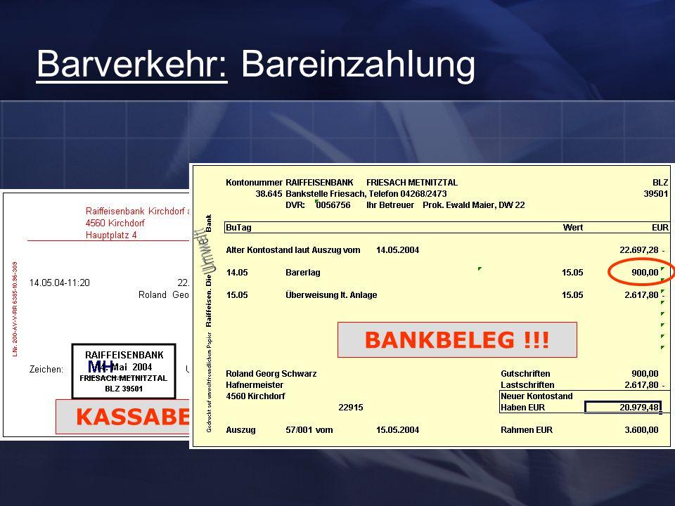 Barverkehr: Bareinzahlung