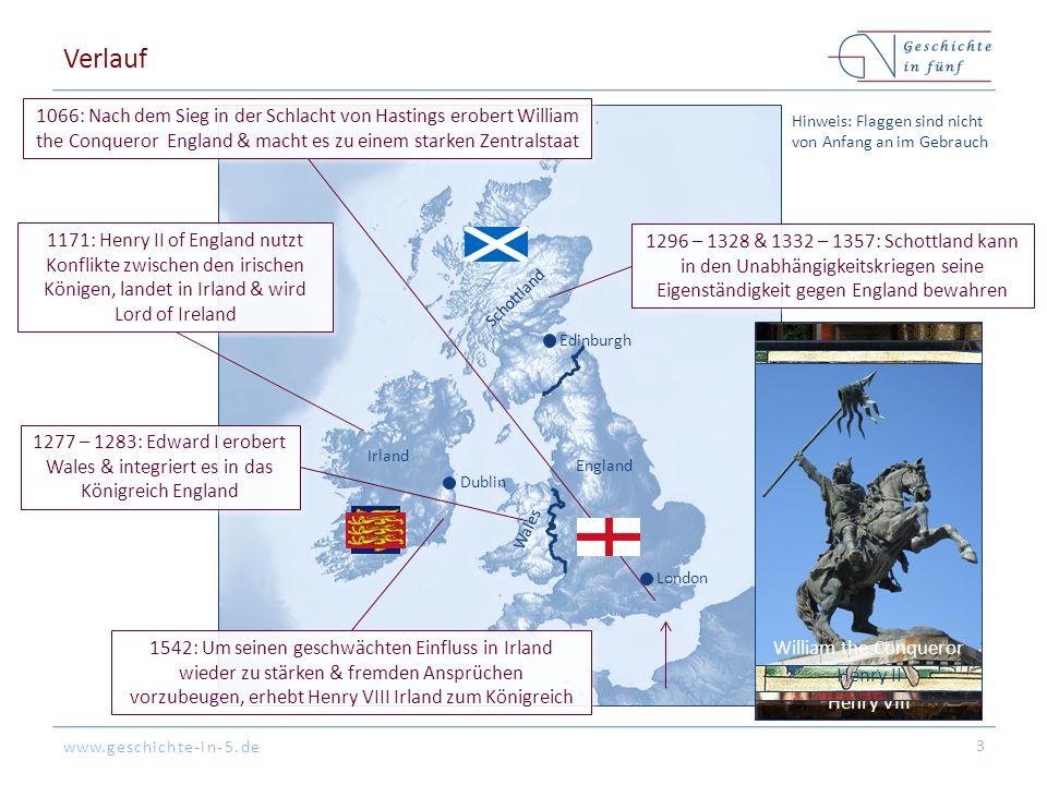 Verlauf 1066: Nach dem Sieg in der Schlacht von Hastings erobert William the Conqueror England & macht es zu einem starken Zentralstaat.
