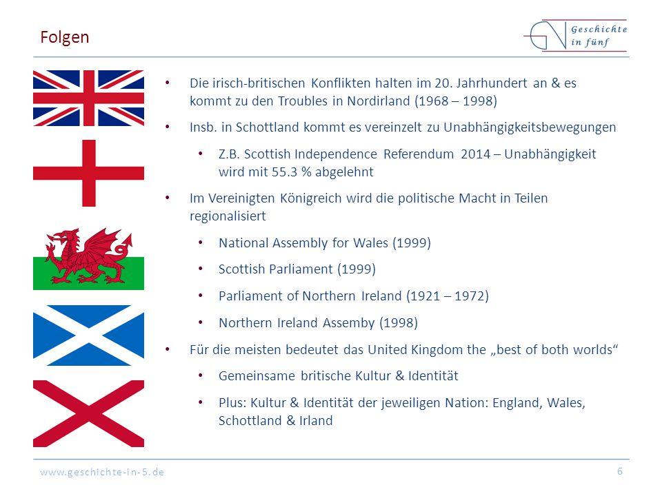 Folgen Die irisch-britischen Konflikten halten im 20. Jahrhundert an & es kommt zu den Troubles in Nordirland (1968 – 1998)