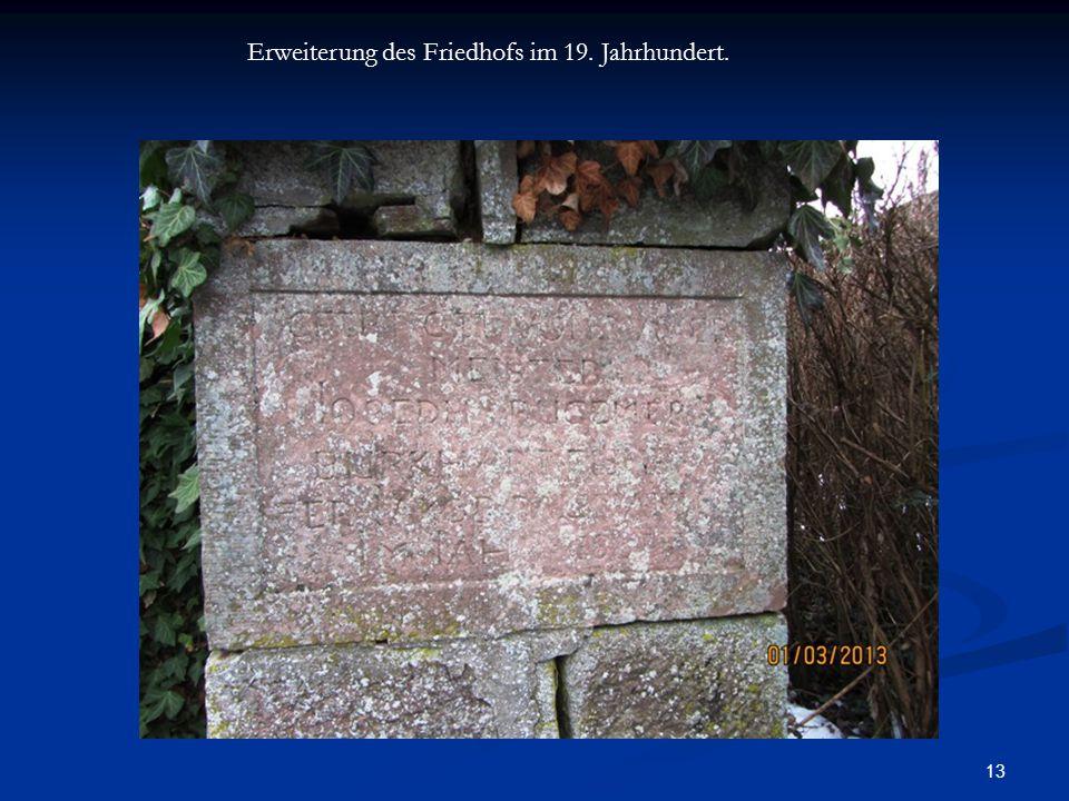 Erweiterung des Friedhofs im 19. Jahrhundert.