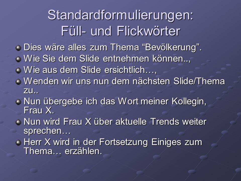 Standardformulierungen: Füll- und Flickwörter
