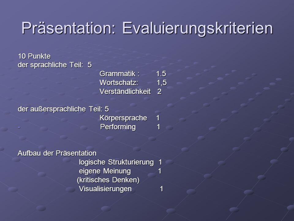 Präsentation: Evaluierungskriterien