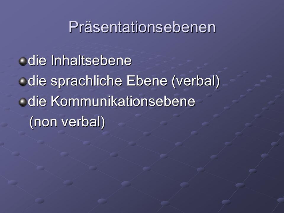 Präsentationsebenen die Inhaltsebene die sprachliche Ebene (verbal)