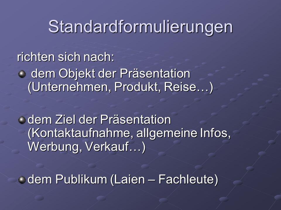Standardformulierungen