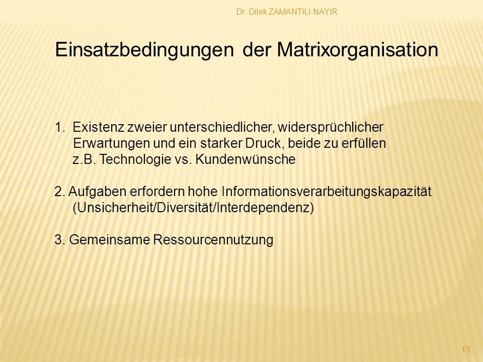 Einsatzbedingungen der Matrixorganisation