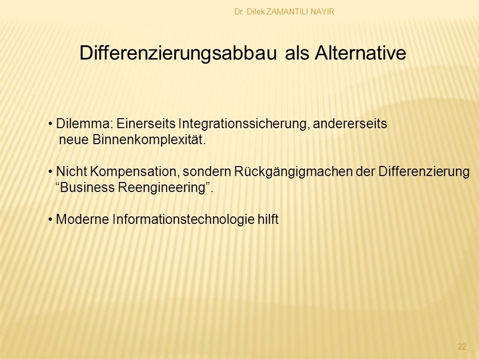 Differenzierungsabbau als Alternative