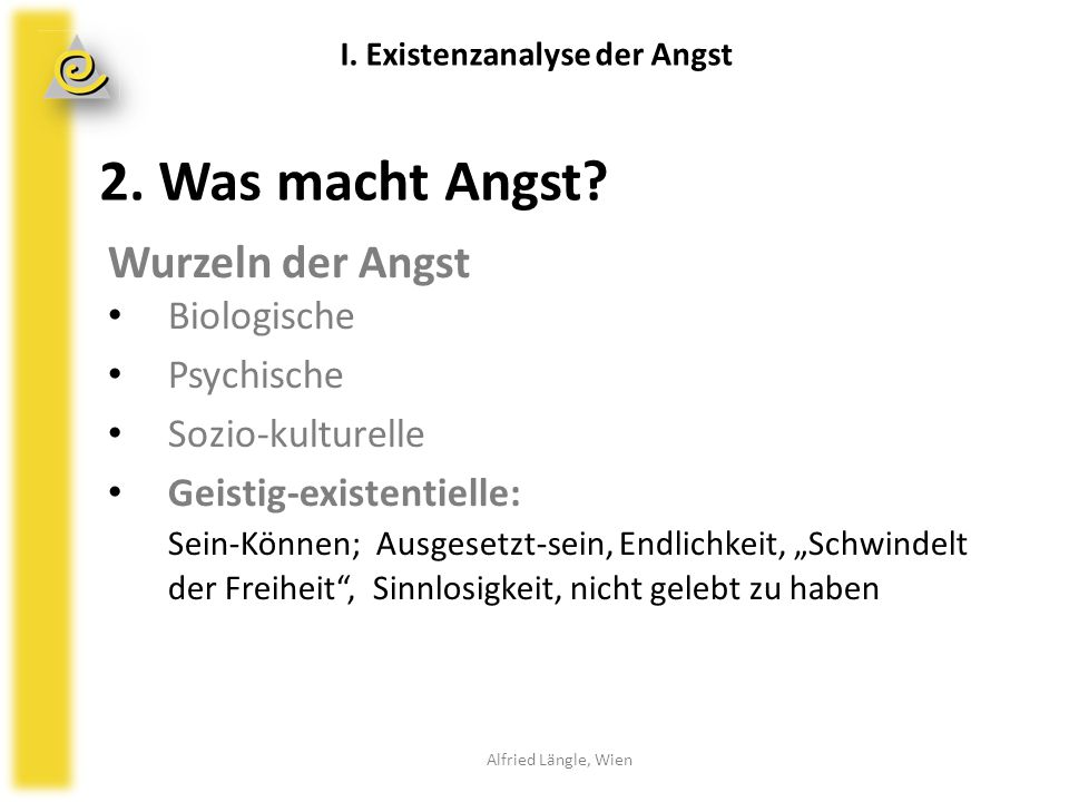 2. Was macht Angst Wurzeln der Angst Biologische Psychische