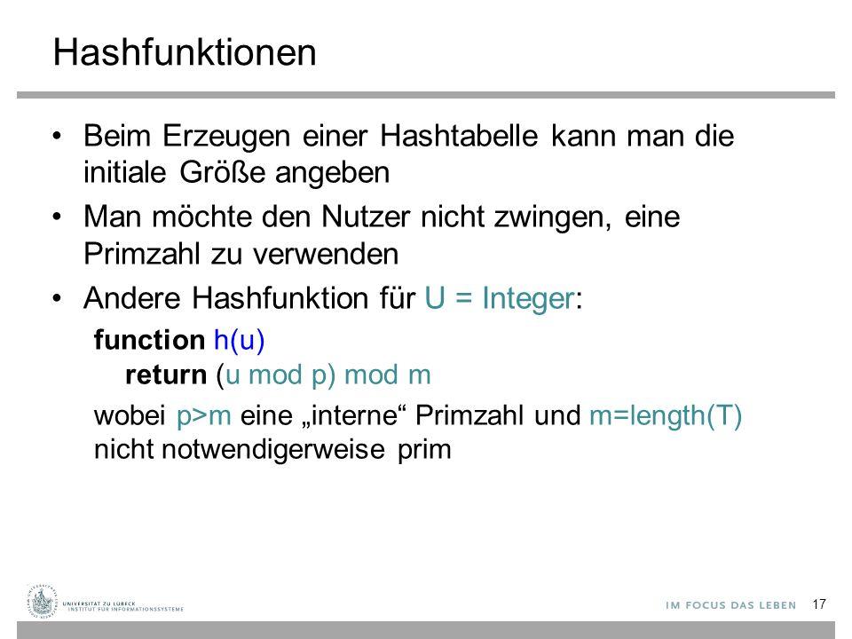 Hashfunktionen Beim Erzeugen einer Hashtabelle kann man die initiale Größe angeben. Man möchte den Nutzer nicht zwingen, eine Primzahl zu verwenden.
