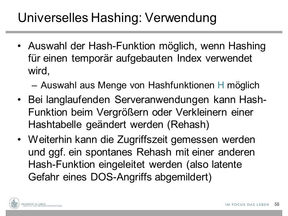 Universelles Hashing: Verwendung
