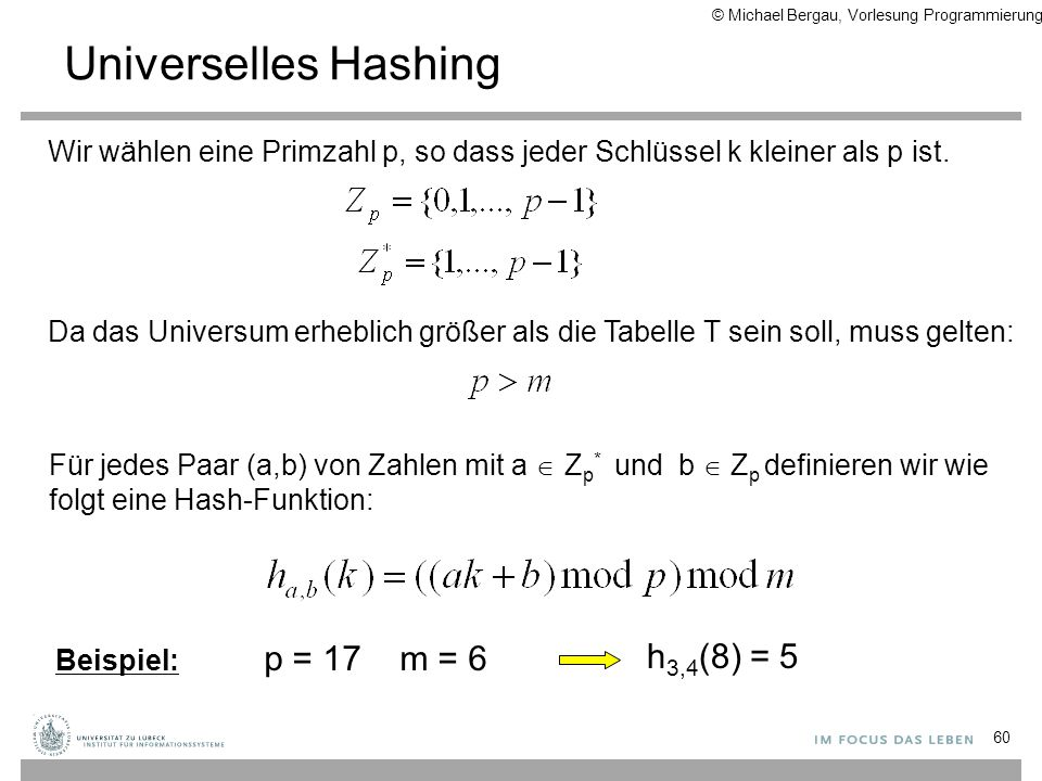 Universelles Hashing h3,4(8) = 5