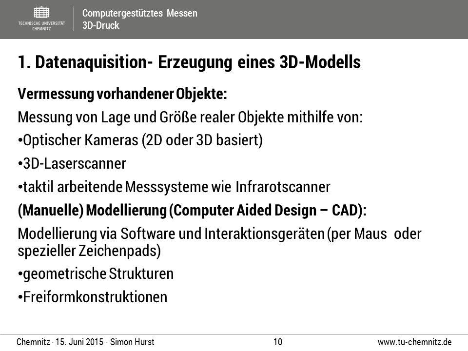1. Datenaquisition- Erzeugung eines 3D-Modells