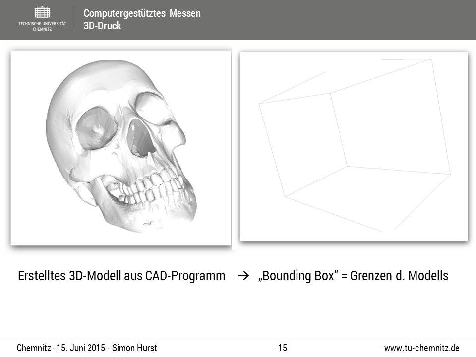 "Erstelltes 3D-Modell aus CAD-Programm  ""Bounding Box = Grenzen d"