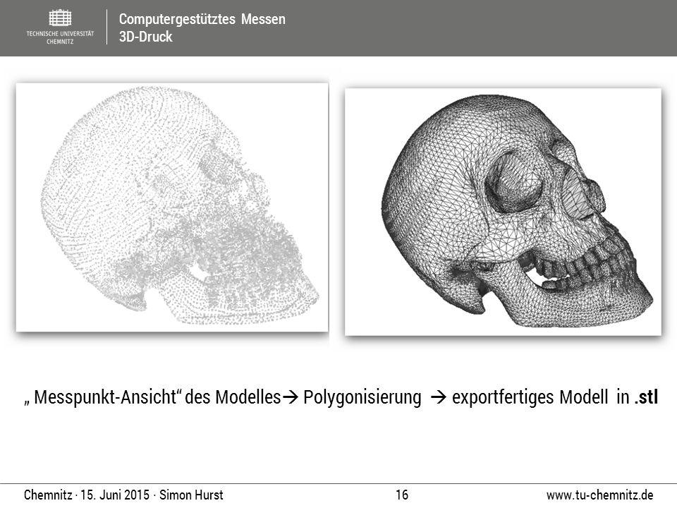 """"""" Messpunkt-Ansicht des Modelles Polygonisierung  exportfertiges Modell in .stl"""