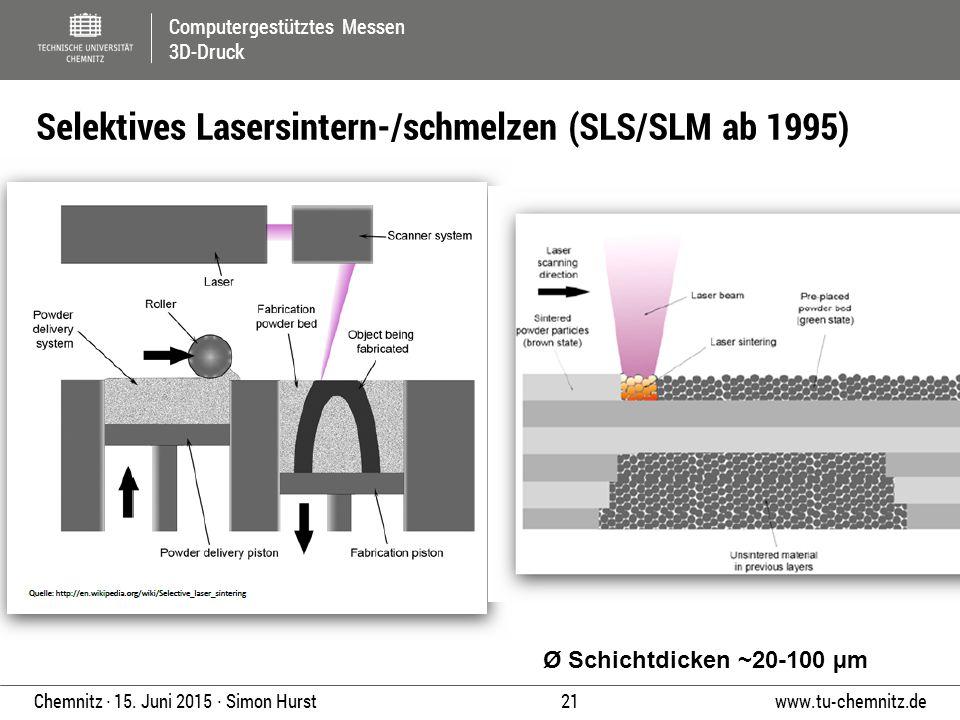 Selektives Lasersintern-/schmelzen (SLS/SLM ab 1995)