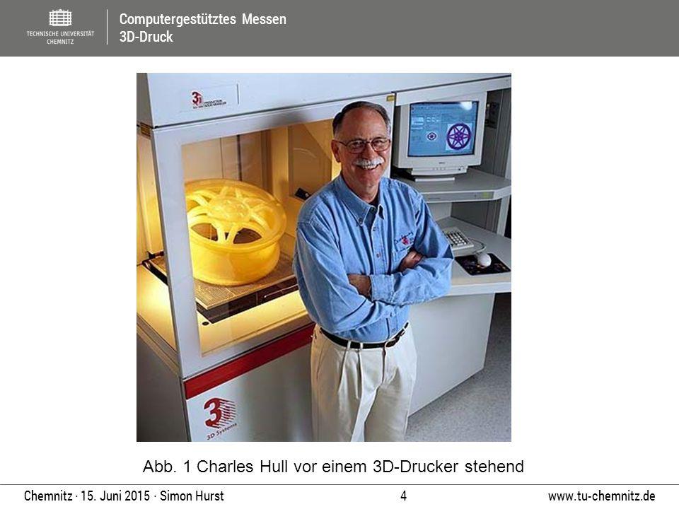 Abb. 1 Charles Hull vor einem 3D-Drucker stehend