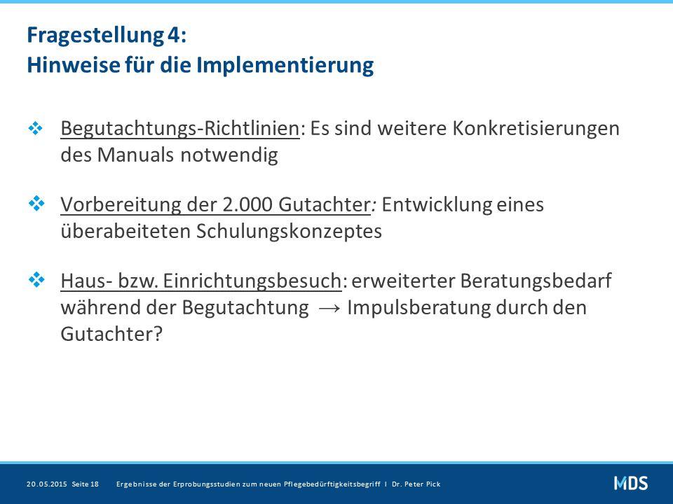 Fragestellung 4: Hinweise für die Implementierung
