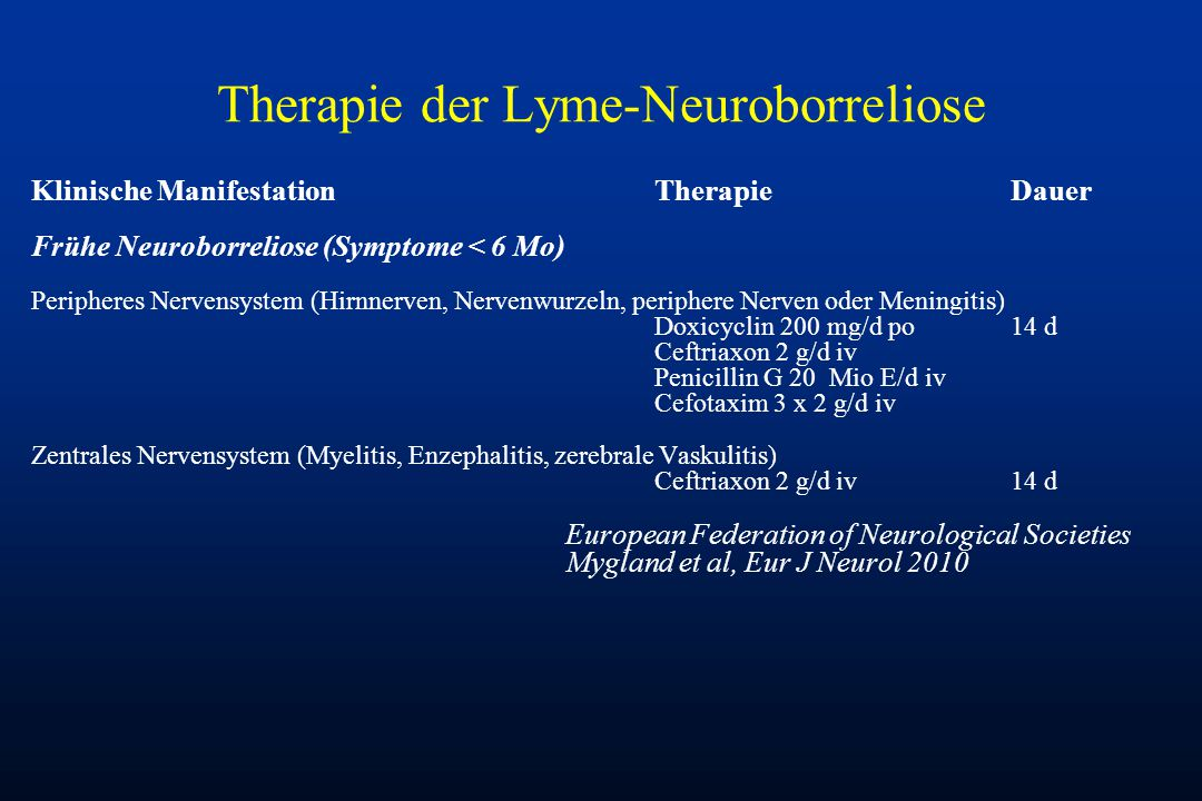Therapie der Lyme-Neuroborreliose
