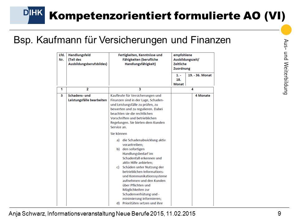 Kompetenzorientiert formulierte AO (VI)