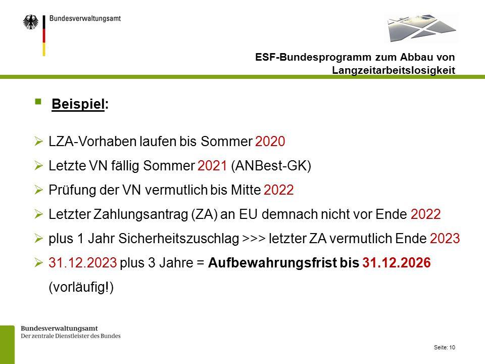 LZA-Vorhaben laufen bis Sommer 2020