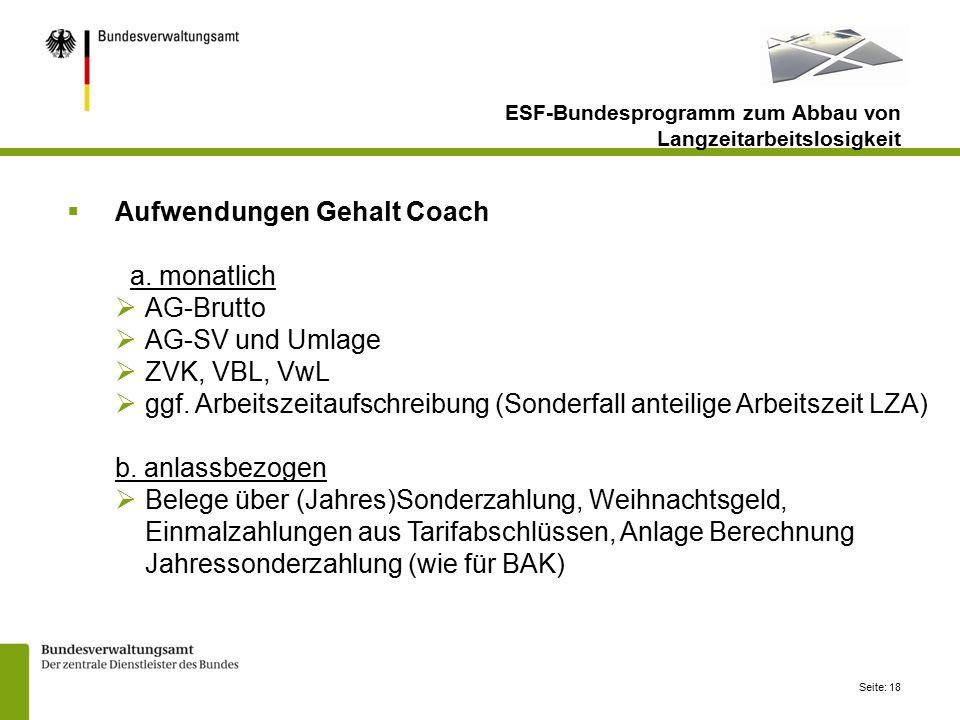 Aufwendungen Gehalt Coach a. monatlich AG-Brutto AG-SV und Umlage