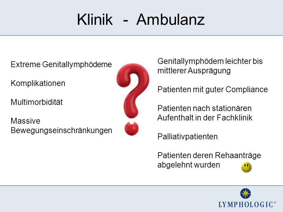Klinik - Ambulanz Genitallymphödem leichter bis mittlerer Ausprägung