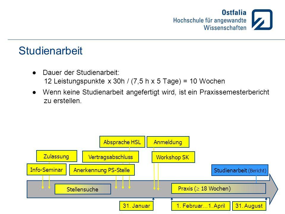 Studienarbeit Dauer der Studienarbeit:
