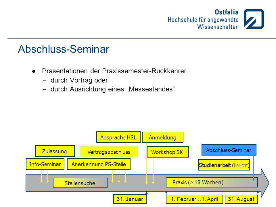 Abschluss-Seminar Präsentationen der Praxissemester-Rückkehrer