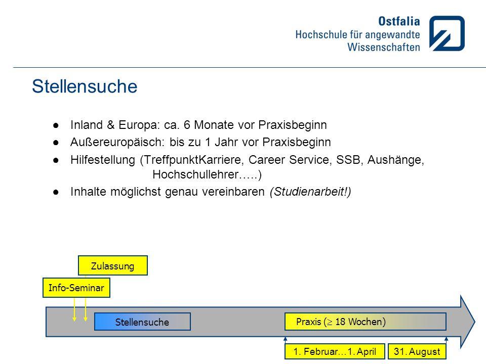 Stellensuche Inland & Europa: ca. 6 Monate vor Praxisbeginn