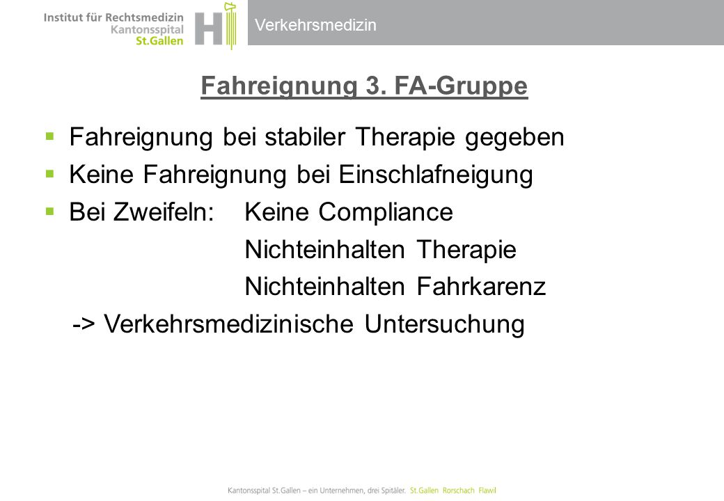 Fahreignung 3. FA-Gruppe