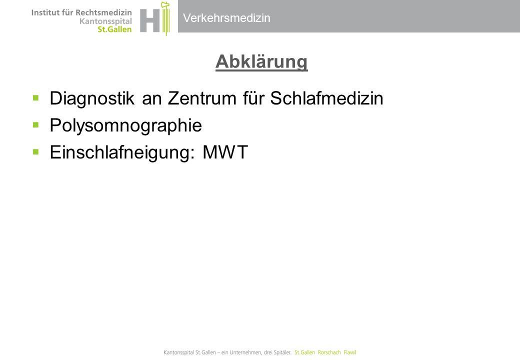 Abklärung Diagnostik an Zentrum für Schlafmedizin Polysomnographie Einschlafneigung: MWT