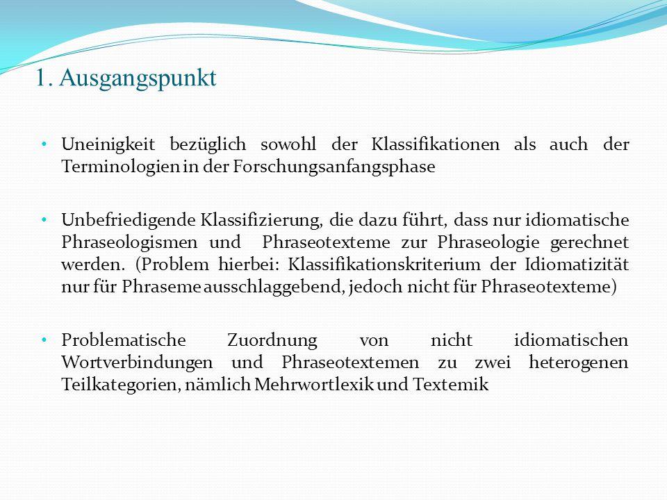 1. Ausgangspunkt Uneinigkeit bezüglich sowohl der Klassifikationen als auch der Terminologien in der Forschungsanfangsphase.