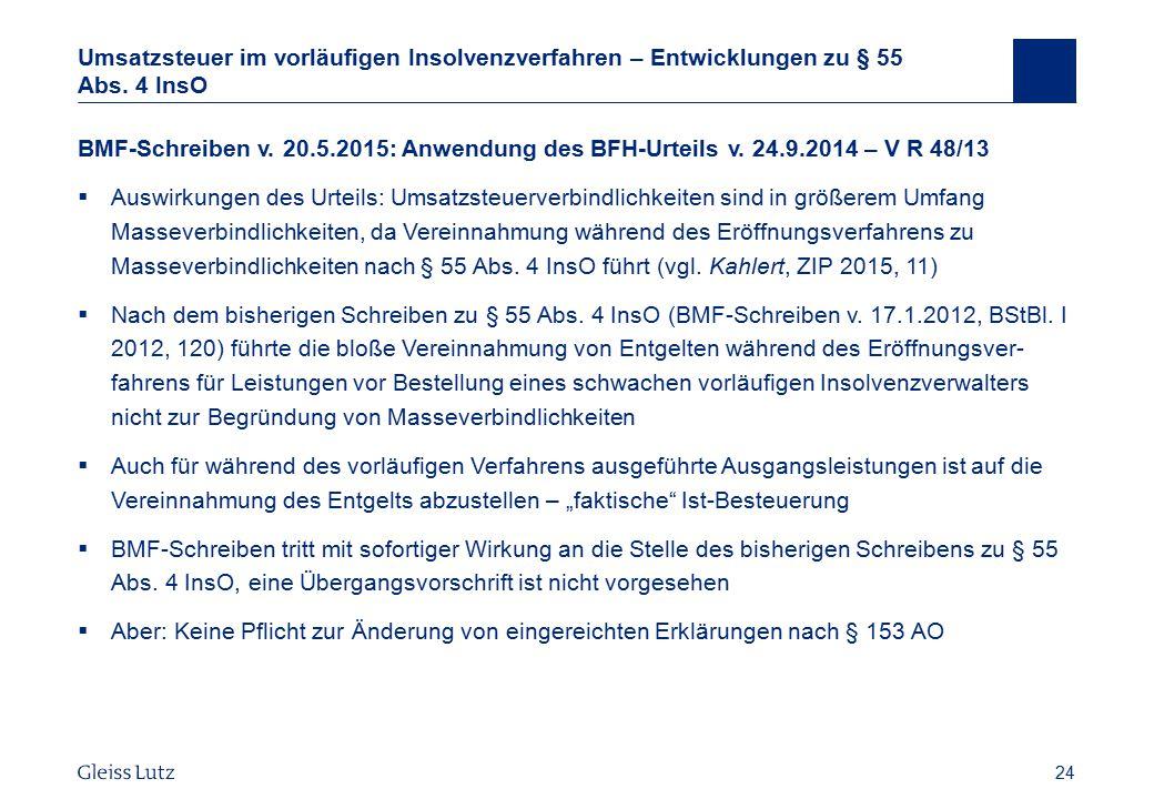 Umsatzsteuer im vorläufigen Insolvenzverfahren – Entwicklungen zu § 55 Abs. 4 InsO