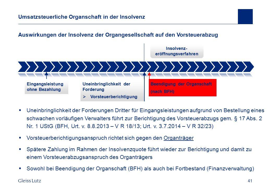 Umsatzsteuerliche Organschaft in der Insolvenz