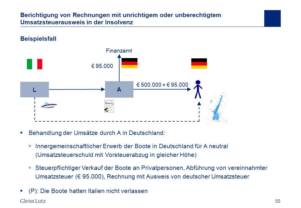 Behandlung der Umsätze durch A in Deutschland: