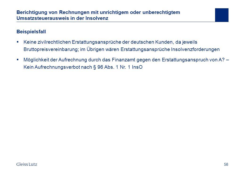 Berichtigung von Rechnungen mit unrichtigem oder unberechtigtem Umsatzsteuerausweis in der Insolvenz