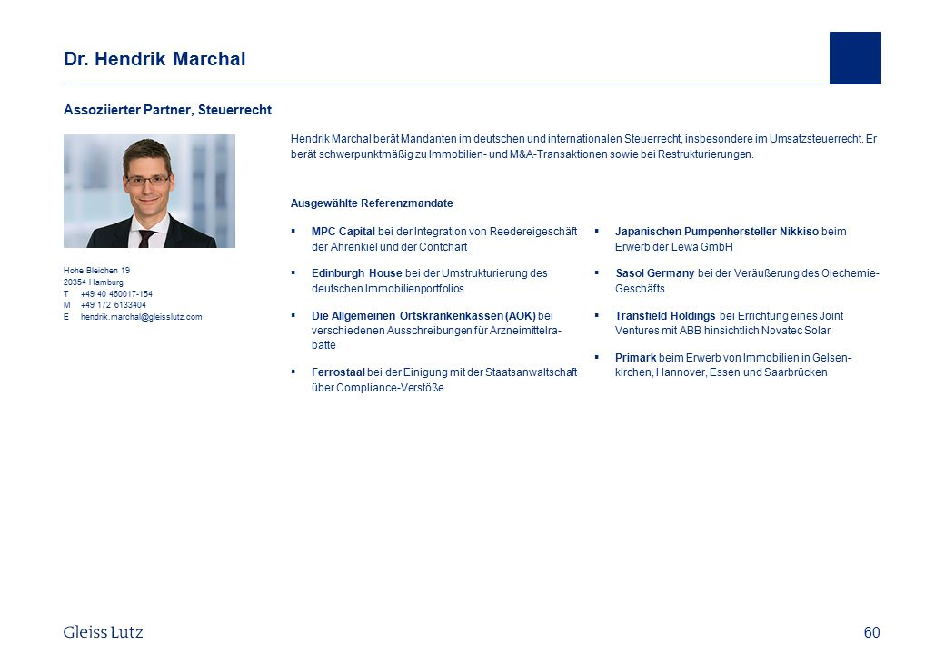 Dr. Hendrik Marchal Assoziierter Partner, Steuerrecht